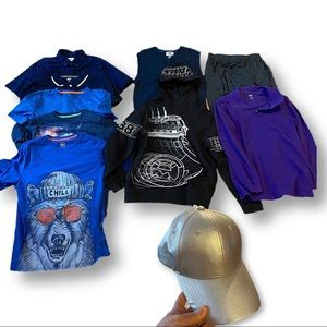 Bundle of boys' L clothing and silver hat